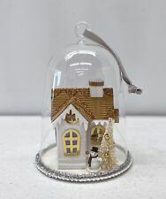 NEW IN BOX Pottery Barn Lit House Scene Glass Bell Cloche Christmas Ornament