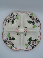 BLUE RIDGE Southern Pottery PINK/GREEN/PURPLE FLORAL Four Part Relish TENNESSEE
