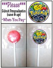 24 Pokemon Go Birthday Party or Baby Shower Lollipop Stickers Favors
