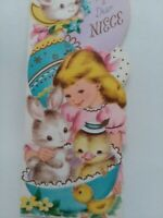 UNUSED Vtg Little GIRL Bunny Chick Eggs NIECE Volland EASTER GREETING CARD
