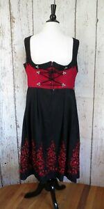 Vintage Dirndl German Dress Rose Aus Bayern 46 Euro US 16 Black Red Embroidery