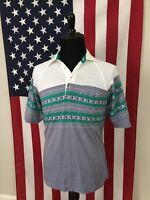 vtg 80s Jantzen Grey Striped Mardi Gras Polo Shirt men's LARGE soft thin 9253