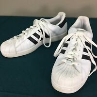 Used Adidas White with Black Stripes Trefoil Mens Classic Sneakers Shoes sz 10.5