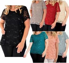 Ladies Floral Lace Sequin Lined Short Sleeve Party wear T-Shirt Tunic Tops 12-26