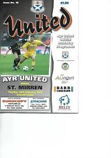 AYR UNITED V ST MIRREN 26/2/2002 LEAGUE MATCH PROGRAMME
