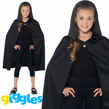 Black Cape Hooded Boys Girls Unisex Vampire Witch Halloween Fancy Dress Outfit
