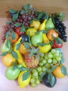 Vintage Lot of Artificial Plastic Fruit Apples Oranges Grapes Bananas etc Bundle