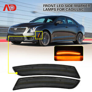 For 2015-2019 Cadillac ATS CTS Smoked LED Side Marker Lights Front Amber 2pcs