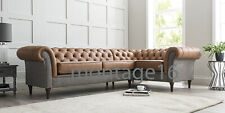 Bespoke Harris Tweed Corner Sofa Button Back Chesterfield Fabric Leather