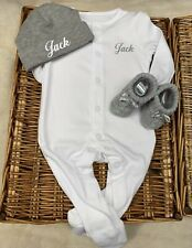 Sleepsuit/Babygrow, Hat, Booties any name Newborn 👶Baby Girl Or Boy Soft White