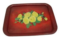 Lot of 2 Vintage Red Yellow Rose Metal Serving Trays
