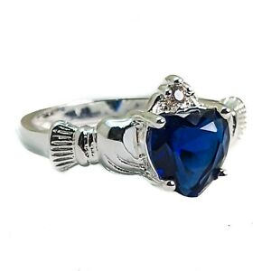 Silver Plated Claddagh Heart Ring With Royal Blue Cubic Zirconia Various Sizes