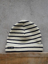 Stripey Knit Hat by Saint James in Cream and Navy - 100% Wool - Made in France