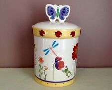 Bico China Ladybug Cookie Jar/Canister With Raised Design Hand Painted