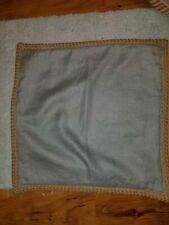 "Pottery Barn Jute Braid Border Blue-Gray Linen 20"" Pillow Cover"