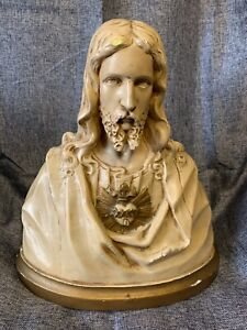Jesus Sacred Heart European Chalk Ware Religious Antique 30cm