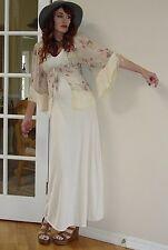 VTG 70s Boho Hippie OFF WHITE Fringe kimono jacket FESTIVAL MAXI dress