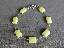 Limited Edition Pastel Lemon Yellow Faceted Olive Jade Sterling Silver Bracelet
