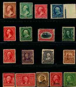 US #210//669 1883-1929 Singles Mostly Mint NG/H/MNH Lot of 17 Stamps (SCV $349)
