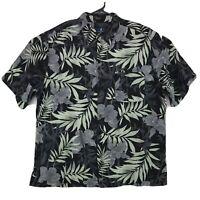 Caribbean Joe Island Supply Silk Hawaiian Shirt Men's Size 2XL Black Floral