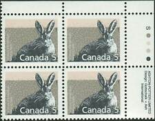 Canada sc#1158 Mammal : Varying Hare, Ur Imprint Block, Mint-Nh