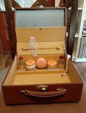 Vintage Antique Train Makeup Case With Key Brown Faux Leather