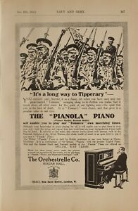 1914 WW1 PRINT PIANOLA ADVERT for IT'S A LONG WAY TO TIPPERARY