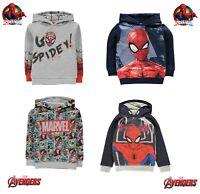 Sweat Garçon officiel Spiderman ou Avengers à capuche du 2 ans au 13 ans