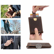 Front Pocket Bifold Leather Mens Ultra Slim Money Clip Minimalist Purse Wallets