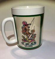 Vintage THERMO SERV Coffee Mug Cup FISHING Fisherman Nature