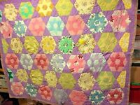 Vintage Patch Quilt 59 X 72 Variety of Star Patterns Hand Stitch SKU 001-006