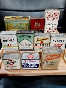 1930s Car and House Graphics Vintage Spice Tin Rare White Villa Ohio Sage Small Round Metal Can Farmhouse Decor