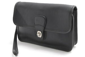 【Rank  BC】Auth Coach Vintage  Leather Clutch Bag Turnlock From Japan A024