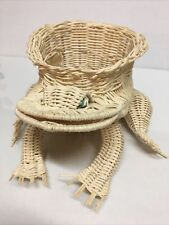 Unique Vintage Wicker Frog Shaper Planter Basket Green Eyes Tan Bull Frog