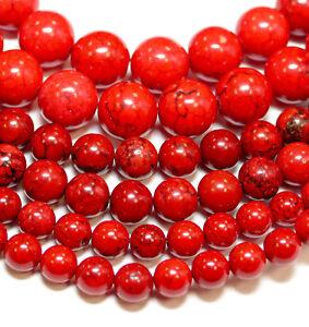 Magnesit Perle Kugel glanz rot 4 - 14 mm, 1 Strang #4278 BACATUS Edelstein