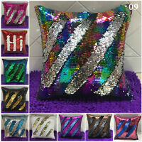 "16"" Magic Mermaid Pillow Case Reversible Sequin Glitter Sofa Cushion Cover Decor"