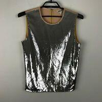 Diane Von Furstenberg Blouse Size M Silver Sequin Pink Sleeveless Top Womens