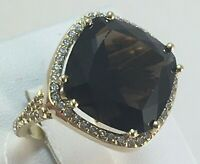 Vintage Original Yellow Gold Ring with Natural Rauchtopaz 585 14K, Solid Gold