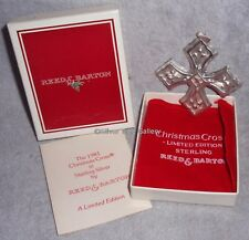 MIB 1981 Reed Barton Sterling Silver Christmas Cross Ornament Pendant Decoration