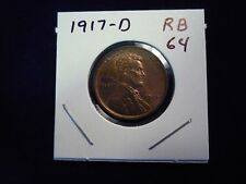 1917 D Lincoln Cent Penny  Unc  Red Brown RB