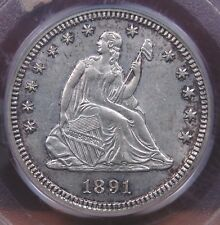 1891 SEATED QUARTER PCGS MS 62 NICE LUSTER MOSTLY WHITE
