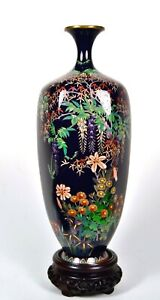 FINE SILVER WIRE COLORFUL ANTIQUE JAPANESE MEIJI CLOISONNE VASE, WISTERIA, MAPLE