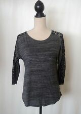 Gina Tricot Dark Grey and Black Lace 3/4 Sleeve T shirt Size S