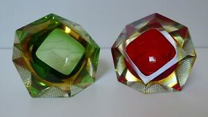 A PAIR OF SOMMERSO FALVIO POLI VIDE POCHES MID CENTURY MURANO FACETED