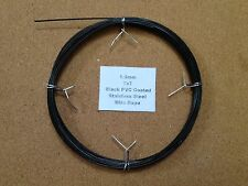 1-1.2mm x 10m Black PVC Coated Stainless Steel Wire Rope 7x7 18/8 304 INOX