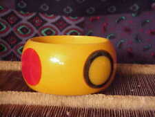 Vintage Early Shultz Wide Bakelite Large polka dot Bracelet dark partina