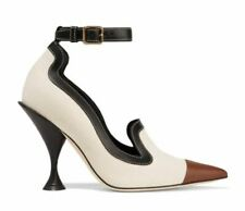 Burberry Brecon Cotton Canvas Leather Point-Toe Pump, EUR38