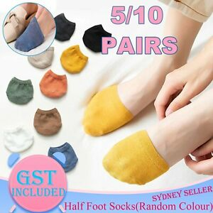 10Pairs Women Half Foot Toe Cover Solid Socks Invisible Summer Breathable Casual