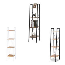 4Tier Stand Shelf Storage Plant Display Book Rack Ladder Shelving Home MDF Metal
