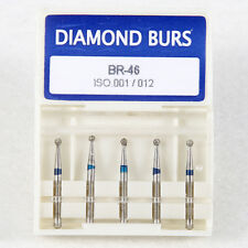 100 Dental High Speed Diamond Burs Drill Burrs Ball Round Medium FG 1.6MM BR-46
